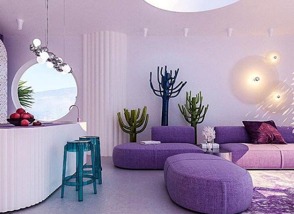 Sala de estar roxa