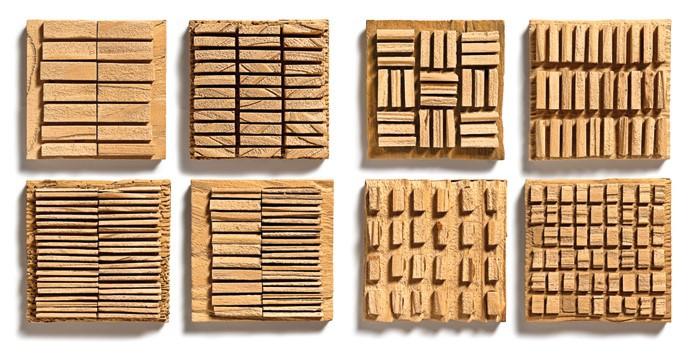 Carimbos desenvolvidos com blocos de madeira