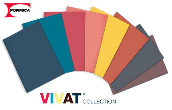 Catálogo da Formica com a coleção de laminados Vivat, incluindo o coral.