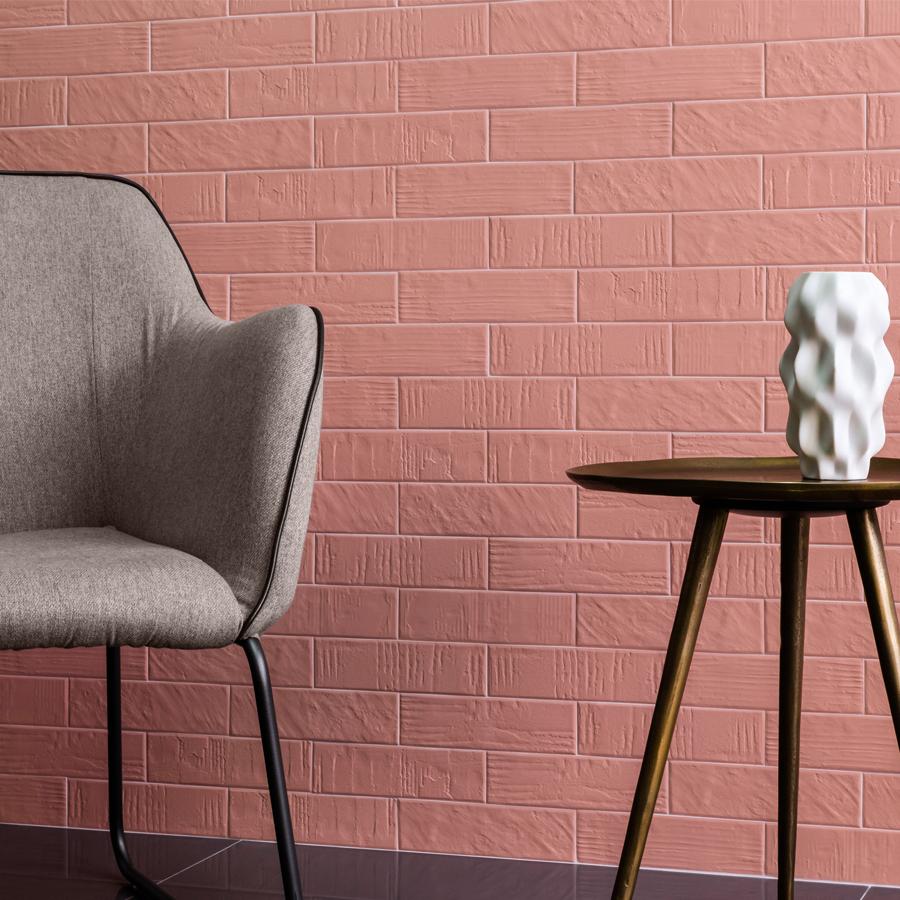 Bricks na versão rosé com leves texturas, da empresa Decortiles.