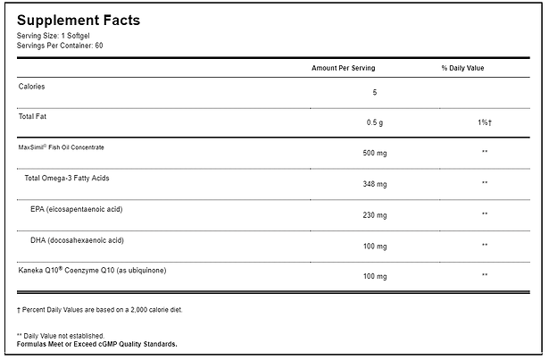 Max COQ - Omega 100mg Facts, By Omnivits