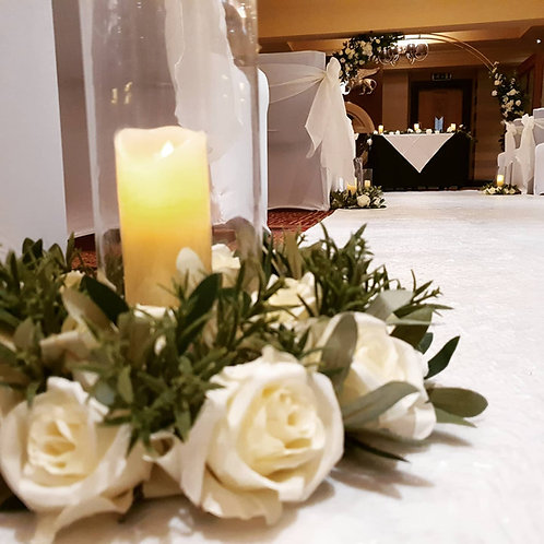 Floral ring with led candle