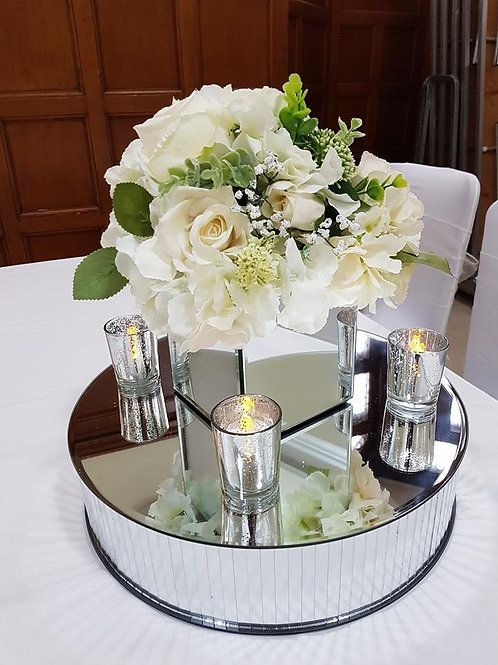 Mirror Cube Centrepiece with flower topper