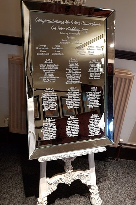 Mirror table plan and easel with decal