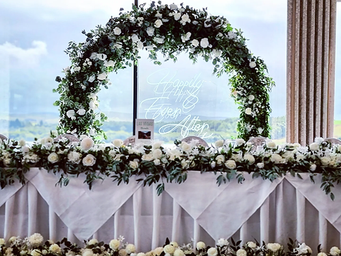 Gold Eden moongate arch with foliage and ivory roses 2m