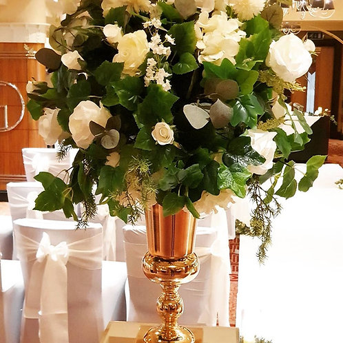 Gold urns with rustic topper