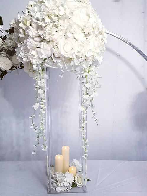 Column centerpiece with large ivory flower ball - gold, white silver or clear