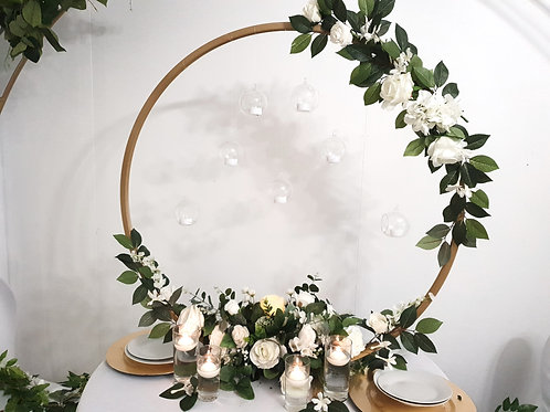 100cm gold floral hoop centrepieces