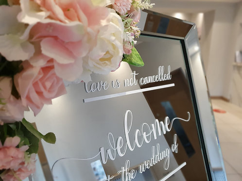 Welcome mirror and easel