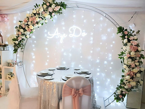 Silver rustic floral arch