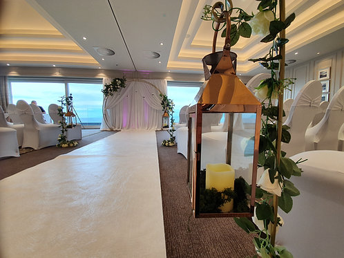 Gold hanging lanterns with ivy and LED candle