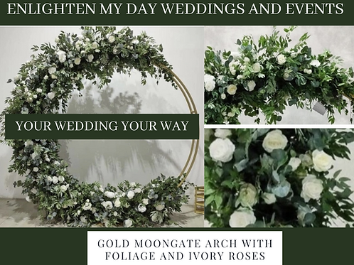 Gold moongate arch with foliage and ivory roses 2m