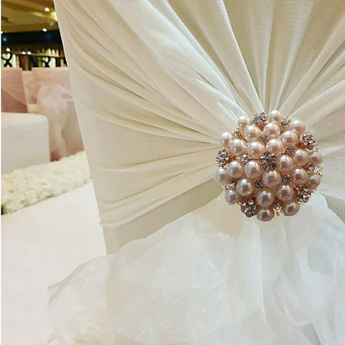 Gold, pearl and diamante chair brooches