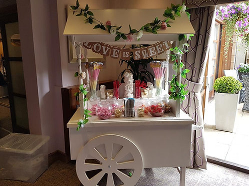 large unfilled candy cart