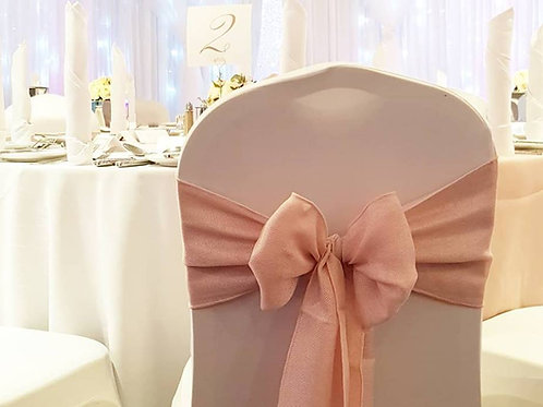Chair covers with linen sash