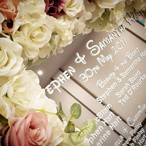 Floral table plan and easel with decal