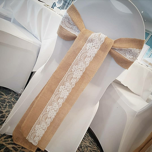 Chair covers with hessian and lace sashes