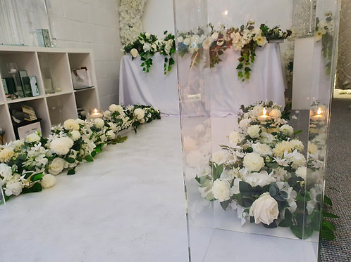 Rustic floral aisle side runners