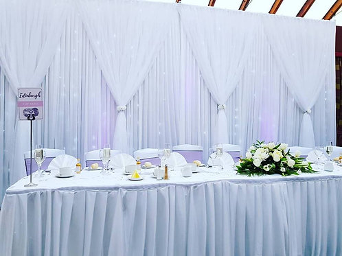 Grecian Backdrop with fairy lights up to 6m wide