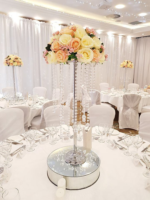 Silver stem crystal hanging chandeliers with floral top