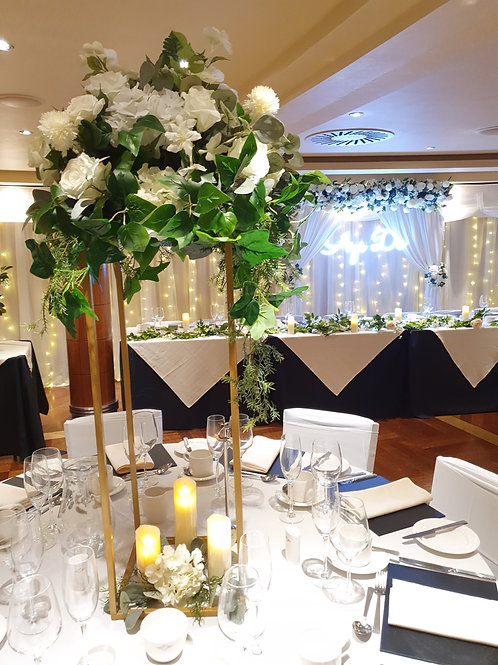 Column centrepieces with medium topper - gold, silver and white