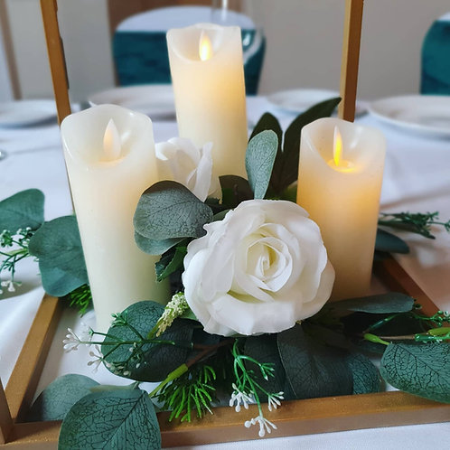Trio led candles and flowers for base of centrepieces