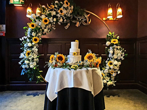 Full circle floral arch - silver and gold