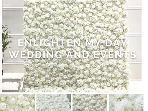 Luxury ivory rose and hydrangea flower wall 8ft x 8ft