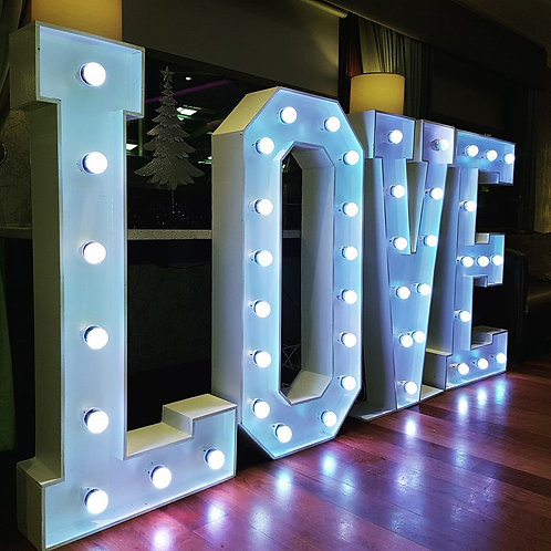 4ft colour changing love letters