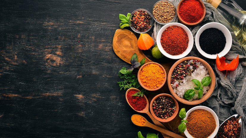 A set of spices and herbs. Indian cuisin