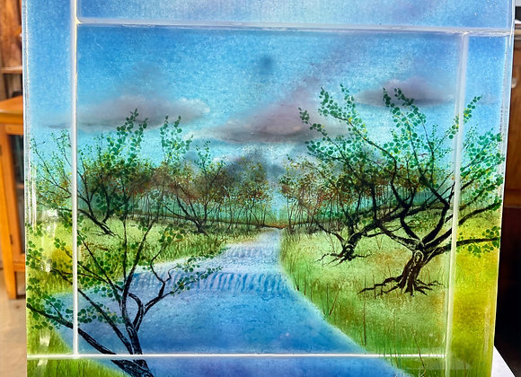 """""""Headwaters"""" Fused Glass Panel"""