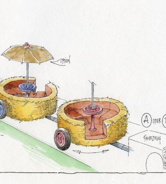 Farm Ride AGV Interactive Rotating Straw Barrels Concept