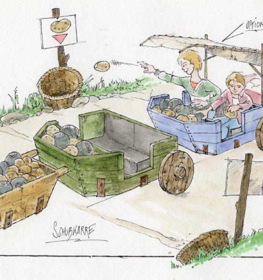 Farm Ride AGV Interactive Rotating Towing Wheelbarrow Concept