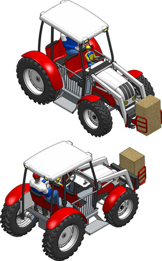Render Tractor With Straw Bale Grappel