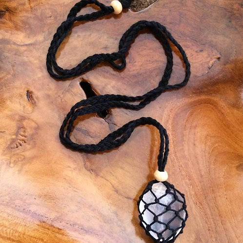 Macrame Crystal Pouch Necklace