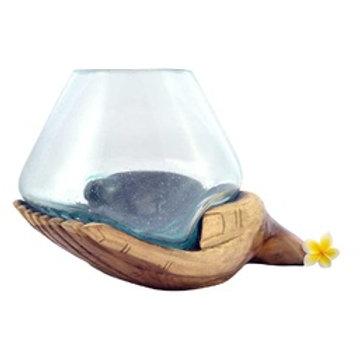 Decorative Wooden Hands Glass Bowl Sml
