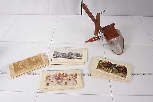 Underwood Stereoviewer With Double Sided Stereographs