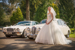 Bride and cars