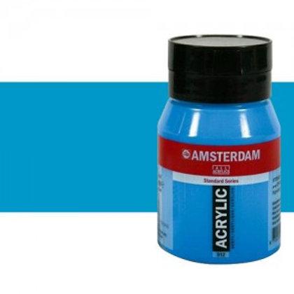 Bote de pintura acrílica Amsterdam 500ml cyan primario