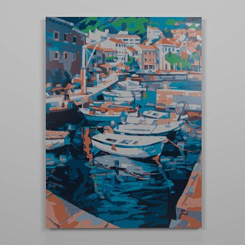 Lienzo numerado para colorear barcas