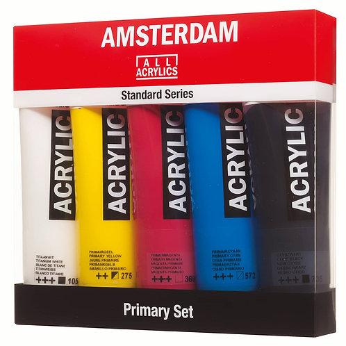 Set de 5 tubos colores primarios  120ml Amsterdam