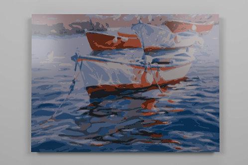 Lienzo numerado para pintar marina barca