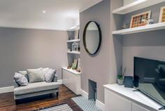 Contemporay home renovation, wood floor, London, grey, wood, surrey, living room, clean, calm, warm