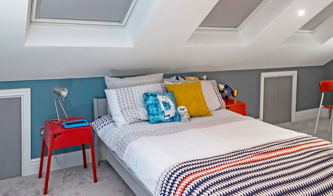 Loft, Conversion, London, rooflights, velux, contemporary, surrey, red, blue, renovation