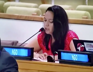 Tina Stege speaks at the United Nations