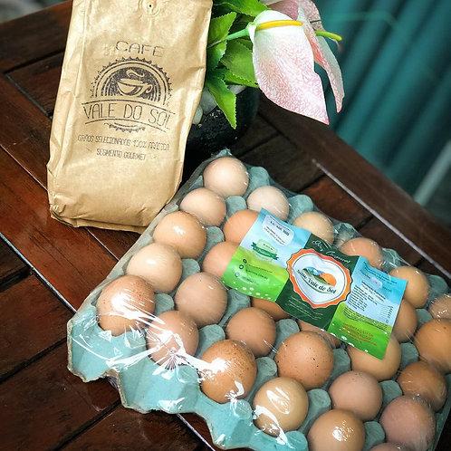 30 Ovos Caipiras + 1 Pct de Café 500g