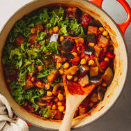 EGGPLANT AND CHICKPEA HARISSA CURRY
