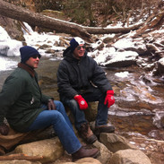 My brother and me in the Pocono Mountains, Appalachian Trail.