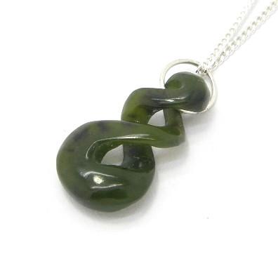 Small NZ Greenstone Twist Pendant with Chain
