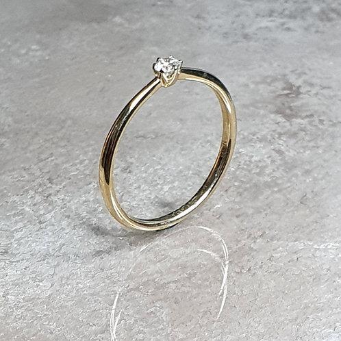 Ring aus 585er Gelbgold mit 6er Kappe und   Brillant